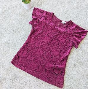 Siren Lily Maroon Lace Sweetheart Neck Top